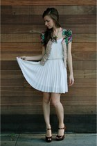 white pleated Frock Candy dress - green floral Ruche sweater