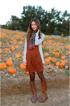 brick red Many Belles Down dress - brown leather JCrew boots