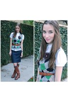 brown J Crew boots - green argyle J Crew sweater - blue J Crew skirt - white ban