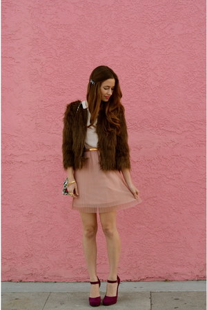 light brown faux fur Urban Outfitters coat - light pink Ruche dress