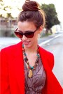 Brown-michael-korss-shoes-brown-shop-ruche-dress-red-wool-blazer-thfited-jac