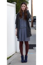 charcoal gray Zara sweater - navy Dolce Vita boots - blue Dear Creatures dress