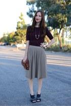 heather gray sweater pleated Zara skirt - maroon knit banana republic sweater