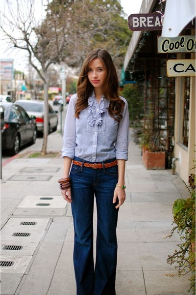 blue ruffled J Crew blouse - blue Gap jeans - brown woven thrifted belt