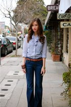 blue ruffled J Crew blouse - blue Gap jeans - brown woven thrifted belt