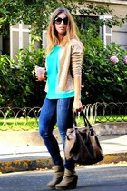 green suiteblanco blouse - blue H&M jeans - gold vintage jacket