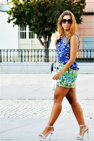 white Zara bag - green Sfera skirt - white Zara heels - blue Sfera blouse