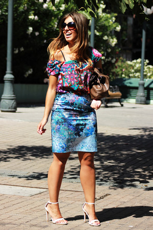 teal H&M skirt - hot pink suiteblanco blouse - white Zara heels