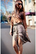 bronze Country Road blouse - brown Dotti skirt