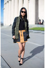 Olive-green-military-jacket-mustard-alexander-wang-skirt