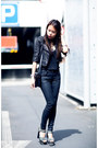 Black-cropped-leather-kookai-jacket