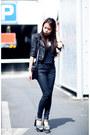 Black-cropped-leather-kookai-jacket