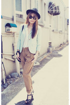 camel Topshop pants - light blue Topshop blazer
