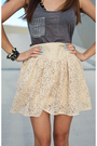 Black-shoes-beige-skirt