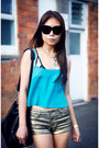Gold-new-look-shorts-turquoise-blue-topshop-top