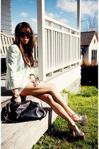 silver heels - light blue Topshop blazer - white linen shorts