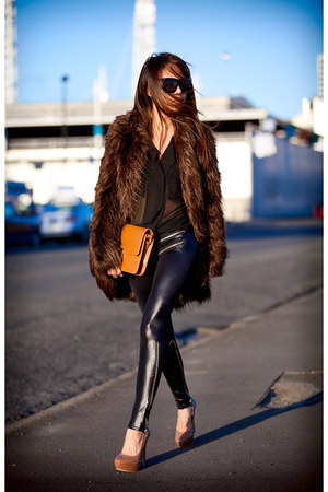 brown asos coat - black Black Milk leggings