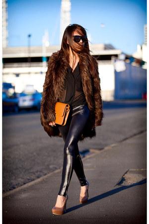 brown asos coat - black Black Milk leggings