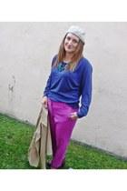 hot pink J Crew pants - blue American Apparel sweatshirt