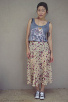 heather gray top all about eve top - eggshell skirt vintage skirt