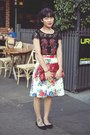 Ruby-red-clutch-vintage-bag-white-skirt-review-skirt-black-top-review-top