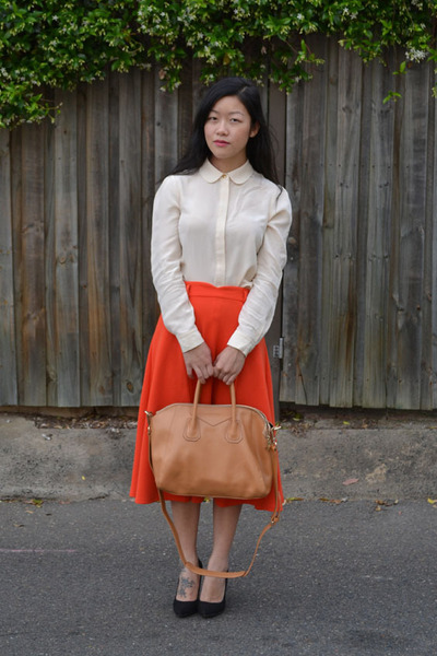 carrot orange midi skirt asos skirt - eggshell Marc by Marc Jacobs shirt
