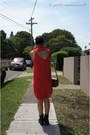 Red-shirt-dress-the-cassette-society-dress-gray-boots-roc-boots-boots