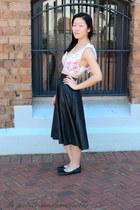 black skirt vintage skirt - pink bustier Casper & Pearl top
