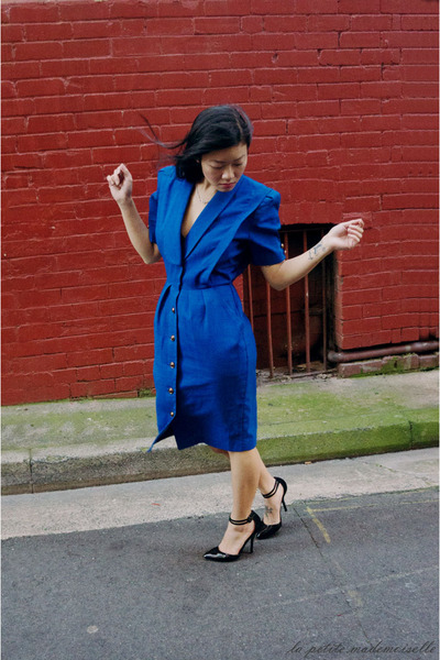 blue dress vintage dress - black heels asos heels