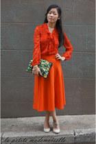 red blouse AWear top - dark green clutch asos bag