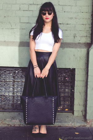 black skirt vintage skirt - black bag 10 Bells bag - white crop top asos top