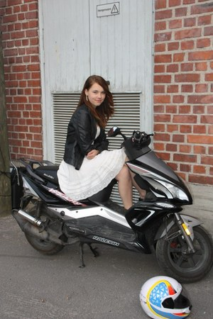 black leather jacket Only jacket - ivory H&M dress
