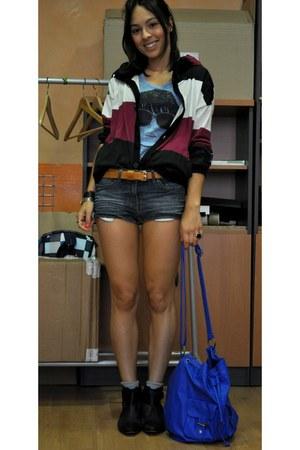 black asos boots - blue BLANCO bag - H&M shorts - maroon Nikita Clothing hoodie