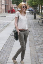 gold vintage hat - green Urban Outfitters bag - brown Moss Copenhagen belt