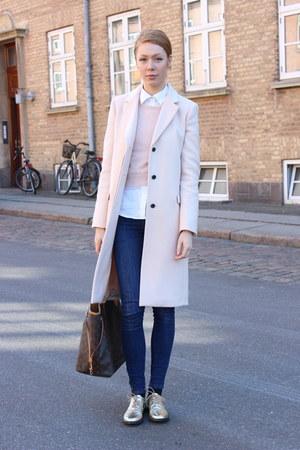 light pink Zara coat - gold vintage shoes - light pink Topshop sweater