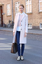 light pink Zara coat - gold vintage shoes - light pink Topshop sweater