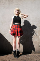 black fake docs black boots - red H&M skirt - black H&M top