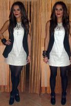 silver dress - black vest - black boots