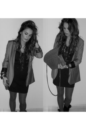 gray blazer - black dress