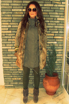 beige Zara vest - brown Zara boots - green pink woman dress