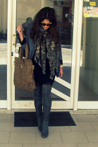 gray blazer - beige purse - gray boots - black dress