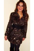 brown Zara coat - black Zara belt - black exe boots