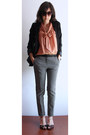 Black-h-m-blazer-nude-h-m-blouse-black-mango-pants
