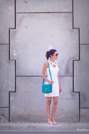 white Mango dress - turquoise suiteblanco bag - golden Zara flats