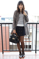 heather gray tweed suiteblanco coat - navy striped Zara sweater