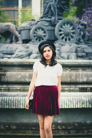 velvet American Apparel skirt - H&M hat - Zara shirt
