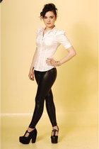 black black snake American Apparel leggings - white puff sleeve H&M shirt - Jeff