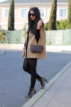 bronze cape - burnt orange bag - dark brown heels