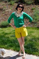 yellow Anthropologie shorts - gold Urban Outfitters shoes - green Anthropologie