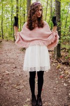 light pink fringed vintage cape - ivory Forever 21 dress
